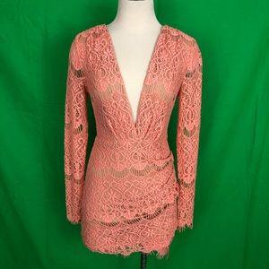 ANGL Long Sleeve Blush Lace Dress Sz S